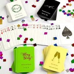 Make your wedding day game playing personal with these standard size coated playing cards personalized with your choice of wedding design and two lines of custom print in 11 foil imprint color options. Add a deck of cards to hotel welcome bags to complete your custom look or use them as the perfect favor that entertains by placing a deck at each place setting, or stack them on your favor table for easy access. Casino Party Foods, Casino Party Decorations, Casino Night Party, Casino Theme Parties, Party Themes, Wedding Decorations, Party Ideas, Theme Ideas, Gift Ideas