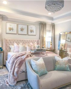 I am so excited to finally share with you my Master Bedroom Refresh reveal! Its my first time using the color blush. Cute Bedroom Ideas, Room Ideas Bedroom, Home Bedroom, Bedroom Decor, Master Bedroom, Kids Bedroom, Rich Girl Bedroom, Bedroom Signs, World Of Interiors
