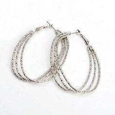 New Fashion Alloy Siver Female Twist Big Earrings