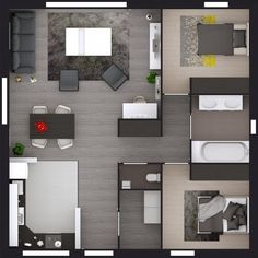 Model TIPI House Tradi 75 00 m² Hab 2 bedrooms without garage Roofing: Tradit Sims House Plans, Small House Plans, House Floor Plans, House Floor Design, Small House Design, Apartment Projects, Apartment Layout, Home Room Design, Home Design Plans