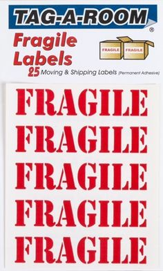 "Bold RED""Fragile"" Moving Labels, Each; Protect Your Valuables from Damage! Fragile Label, The Fragile, Moving Day, Moving Tips, Food Containers, Storage Containers, Moving Labels, Organizing For A Move, Moving Supplies"