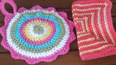 Crocheted potholder and dishcloth