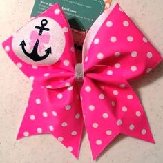 Bows by April - Pink with White Polka Dots Glitter Anchor Cheer Bow, $17.00 (http://www.bowsbyapril.com/pink-with-white-polka-dots-glitter-anchor-cheer-bow/)