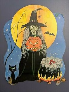 Vintage Gypsy, Vintage Witch, Vintage Halloween, Holidays Halloween, Scary Halloween, Happy Halloween, Scary Houses, Gypsy Witch, Hallmark Greeting Cards