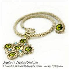 Pandora's Pendant Necklace (The Manek Lady) Tags: necklace crystal seed bead swarovski woven pendant
