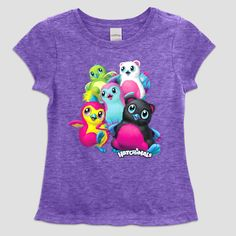 Girls' Hatchimals Short Sleeve T-Shirt - Purple Heather Xxl Plus