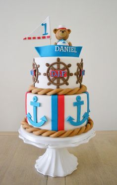 """Ahoy there sailor!"" A nautical themed 1st birthday novelty cake."