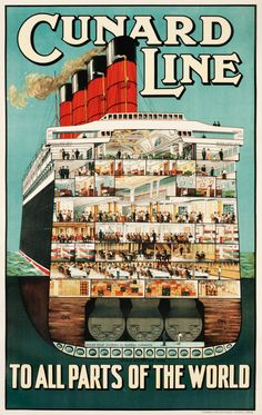 "Fantastic vintage Cunard Line poster from 1914 featuring a wonderfully detailed cutaway view of the RMS Aquitania, the vessel once nicknamed ""Ship Beautiful."""