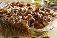 Pecan Pie Bubble-Up-1 tube (17.5 ounces) refrigerated cinnamon roll dough, with frosting included 1-1/2 cups (6 ounces) pecans 1-1/3 cups Karo® Light OR Dark Corn Syrup 4 eggs 1-1/3 cups sugar 3 tablespoons butter, melted 1-1/2 teaspoons Pure Vanilla Extract