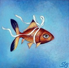 "Print mounted on wood of ""Fish in a Ribbon"" by Isabelle Bryer 5"" x 5"""