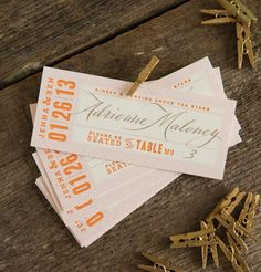 Love this orange rectangle place cards for your wedding.