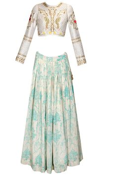 Ivory and teal print rose embroidered lehenga set available only at Pernia's Pop Up Shop.
