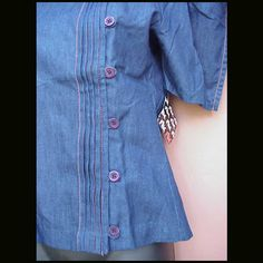 1970s Denim Blouse Size Small Unworn with Tags NOS from toinetterl on Ruby Lane