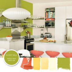 PPG Paint's Willow Herb is a fresh green that is just right for an accent wall, or for a peek of bright color beneath cabinets or shelving. Fuchsia or red can be an exciting accent color with Willow Herb, if you have a space that needs more energy. Top Paint Colors, Kitchen Paint Colors, Paint Colors For Home, Paint Color Palettes, Paint Color Schemes, Kitchen Decor, Kitchen Design, Kitchen Ideas, Olympic Paint