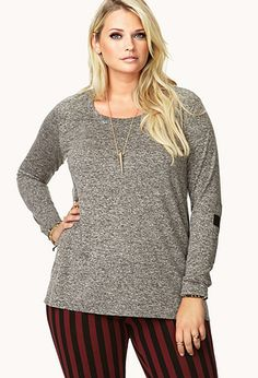 Heathered Cross Patch Top (in Heather Grey & Black).  #Plus #PlusSize #Fashion