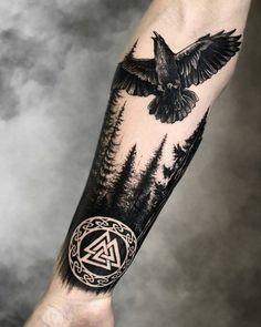 Viking Raven Tattoo Ravens are one of the most commonly appeare. - Viking Raven Tattoo Ravens are one of the most commonly appeared figures in Norse - Viking Tattoo Sleeve, Norse Tattoo, Celtic Tattoos, Celtic Raven Tattoo, Forest Tattoo Sleeve, Armor Tattoo, Tattoo Symbols, Tattoo Fonts, Tattoo Quotes