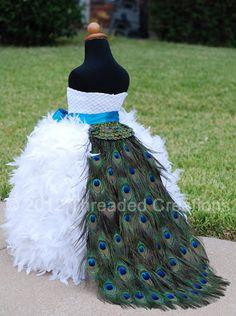 Peacock Feather Bustle Tail - Peacock Wedding - Peacock Dress - Peacock Train. flower girl dress