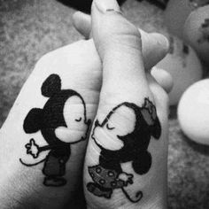 Love this one, couple tattoos, Mickey and Minnie