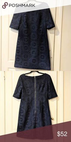 aad59cefa8 Adrianna Papell Navy Lace Shift Dress Sz 8 Beautiful floral lace shift  dress by Adrianna Papell in Size 8. Lace overlay is navy