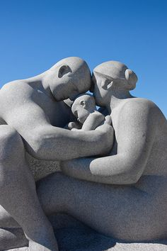 """Together As A Whole""  Another statue inside the Frogner Park in Oslo, Norway. The figure is carved from a single block of granite rock. Inside this park is a subsection called the Vigeland Sculpture Park, where lots and lots of statues and sculptures like this one are on permanent display outside. A total of 212 statues are located here.     By NL-DUX"