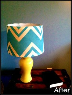 Chevron stripes painted on a lamp shade