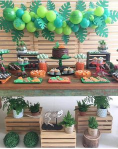 Ideas For Safari Birthday Party Boy Balloons Jungle Theme Birthday, Dinosaur Birthday Party, 3rd Birthday Parties, Birthday Party Decorations, Dinosaur Party Decorations, Hawaii Party Decorations, Safari Decorations, Animal Birthday, Birthday Balloons