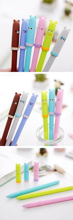 Etsy find! Cute kawaii pens. Fans of Japanese and Korean stationery will love these! Character Gel Pens - Multi Coloured - Cute School Supplies - Rilakkuma - Kawaii Stationery. These cute and funny character pens have lots of personality! Available in six designs: - Green - Blue - Purple - Brown - Pink - White Ink Colour: Black Point: 0.5mm Length: 14.5cm #pens #kawaii #stationery #etsy #affiliate