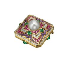 """Bulgari. """"Carré"""" brooch in gold with natural pearl, amethysts, emeralds and diamonds, 1989."""