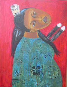 Maori Contemporary Art by Robin Kahukiwa, Maori Patterns, Ancient Runes, Birth Art, Maori Designs, New Zealand Art, Nz Art, Maori Art, Kiwiana, Pattern Art