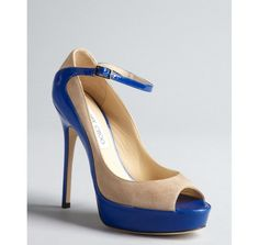 Jimmy Choo nude suede and blue patent leather peep toe 'Tami' pumps