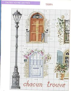 Doors, lamp posts, part 1 Gallery. Cross Stitch House, Cross Stitch Needles, Cute Cross Stitch, Cross Stitch Flowers, Funny Cross Stitch Patterns, Cross Stitch Charts, Cross Stitch Designs, Cross Stitching, Cross Stitch Embroidery
