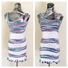Knitted Blouse or Short Dress Size S, Sleeveless, White & multicolor,  handmade in the U S A, item no DeBg09 by DeEscalaArt on Etsy https://www.etsy.com/listing/468421130/knitted-blouse-or-short-dress-size-s