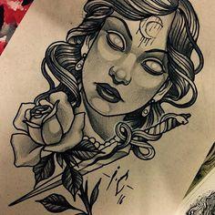 Resultado de imagem para bruxa tattoo neo traditional