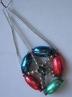 """Antique Christmas Silver Glass Ornament Construction """"Parachute"""""""