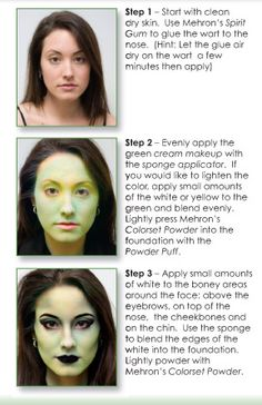 """Mehron Theatre Makeup and Supplies, Professional Theatrical and Stage Makeup, Character Kits""""   Beautiful green makeup!"""