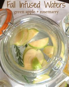 Fall Infused Water: Green Apple & Rosemary Water Infusion, Infused Waters, Daily Water, Healthier You, Ice Cubes, Cucumber, Apple, Tea, Coffee