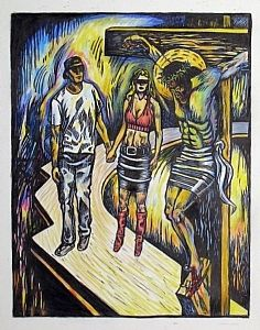 """""""Encounter by Daniel Jimick A cornerstone of Christianity, Jesus Christ is depicted here being crucified on the cross in order to sacrifice himself for mans' sins. His hands are nailed into the cross and God's only son will therefore die and rise again. #BID #BeforeIDieUA #BIDTucson"""