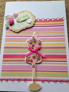 Pretty girly card - handmade