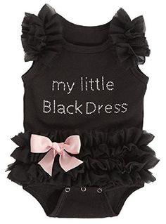 Baby Girls Embroidered Little Black Dress Bodysuit