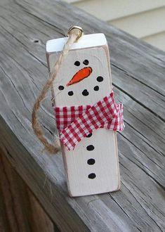 Diy christmas ornaments, xmas crafts, christmas decorations, diy snowman, t Christmas Ornament Crafts, Snowman Crafts, Holiday Ornaments, Christmas Diy, Ornaments Ideas, Snowman Ornaments, Origami Christmas, Wood Snowman, Christmas Vacation