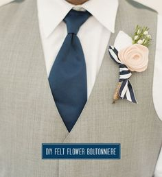 Learn how to make felt flowers, and you'll be able to put a smile on everyone's face as they pin on their handmade boutonnieres on the morning of the wedding. This Felt Flower DIY Boutonniere might just be the cutest thing at the entire ceremony. Diy Wedding Bouquet, Corsage Wedding, Diy Bouquet, Wedding Flowers, Green Wedding, Boutonnieres, Corsage And Boutonniere, Wedding Boutonniere, Felt Flowers