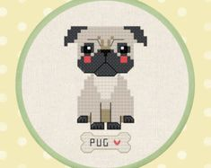 Thrilling Designing Your Own Cross Stitch Embroidery Patterns Ideas. Exhilarating Designing Your Own Cross Stitch Embroidery Patterns Ideas. Modern Cross Stitch, Cross Stitch Charts, Cross Stitch Patterns, Cross Stitching, Cross Stitch Embroidery, Beading Patterns, Embroidery Patterns, Pug Cross, Cute Pugs