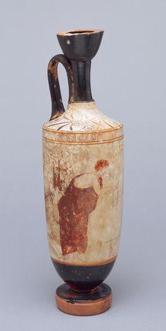 Greek [Attic]  Lekythos (oil bottle), ca. 450–400 BC  White-ground terracotta  12 1/4 x 3 5/8 in. (31.12 x 9.21 cm)  Gift of Alfred F. James M1919.20   Photo creditJohn R. Glembin