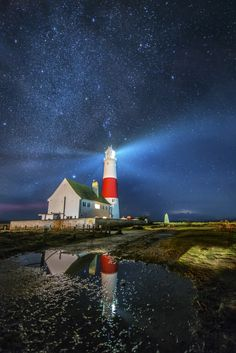 Portland Bill Light House Under the Stars by Ollie Taylor on 500px