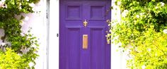 Front Door Paint Colors - Want a quick makeover? Paint your front door a different color. Here a pretty front door color ideas to improve your home's curb appeal and add more style! Purple Front Doors, Purple Door, Painted Front Doors, Front Door Colors, Color Meanings, Foyers, Home Living, Color Of The Year, Windows And Doors