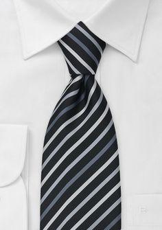 Elgant Striped Black Necktie