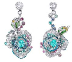Flower earrings with Paraiba Tourmaline by Anna Hu.