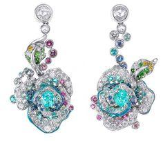Flower earrings with Paraiba Tourmaline by Anna Hu.