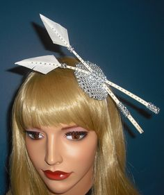 Cream & Silver Arrow Feather Fascinator on diamante Base on band