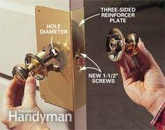 Wrap-around metal plates strengthen exterior doors against break-ins.